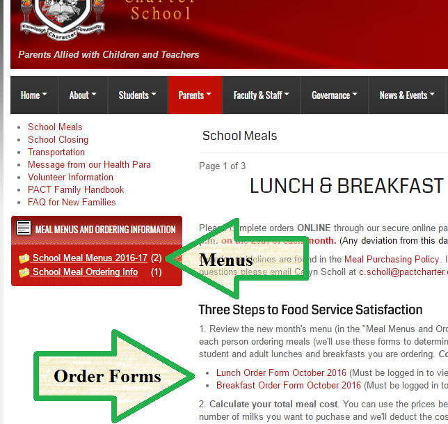 Meal menus and order forms